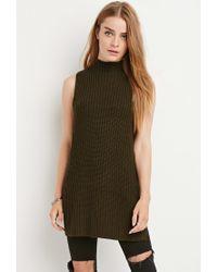 Forever 21 | Green Side-slit Mock Neck Sweater | Lyst