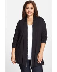 Lyssé - Black 'canyon Drape' Faux Leather Trim Wrap Cardigan - Lyst