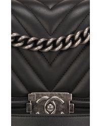 28e26193e415 Lyst - Madison Avenue Couture Chanel Black Chevron Medium Boy Bag in ...