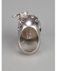 Alexander McQueen | Metallic Skull And Bee Ring | Lyst