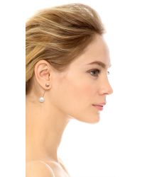 Amber Sceats - White Bar Imitation Pearl Earring - Pearl/Rose Gold - Lyst