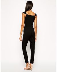 ASOS - Black Wrap Plunge Jumpsuit With Cap Sleeves - Lyst