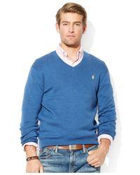 Polo Ralph Lauren - Blue Pima Cotton V-Neck Sweater for Men - Lyst