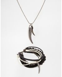 ASOS | Black Necklace And Bracelet Pack With Animal Teeth for Men | Lyst