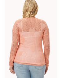 Forever 21 - Pink Plus Size Crazy Hearts Open-knit Sweater You've Been Added To The Waitlist - Lyst