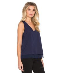 1.STATE - Blue Short Sleeve Double Layer Tank With Chiffon - Lyst