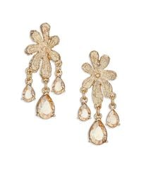 Oscar de la Renta - Metallic Lace Crystal Clip-on Chandelier Earrings - Lyst