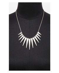 Express | Metallic Graduated Spike Necklace | Lyst