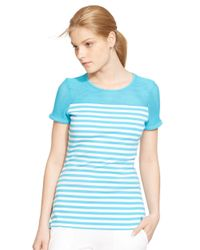Lauren by Ralph Lauren | Blue Striped Mesh-yoke Top | Lyst