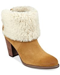 Tommy Hilfiger | Brown Katelynn Cuffed Faux-fur Booties | Lyst