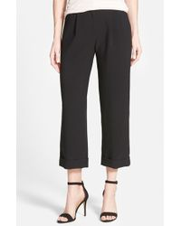 Halogen | Black Crop Cuff Wide Leg Pants | Lyst