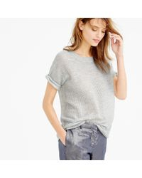 J.Crew - Gray Collection Cashmere Short-sleeve Pointelle Sweater - Lyst