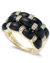 Macy's | Metallic Vermeil Onyx And Diamond Accent Ring (3-3/4 Ct. T.w.) | Lyst