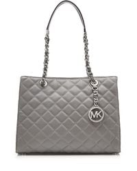 Michael Kors | Gray Borsa Mini Jet Set Travel Large Ew Crossbody Saffiano Metallizato | Lyst
