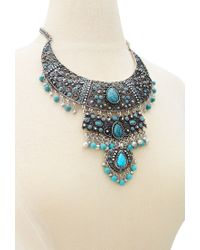 Forever 21 | Blue Faux Stone Filigree Necklace | Lyst