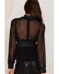 Nasty Gal | Black Baroque My World Sheer Blouse | Lyst