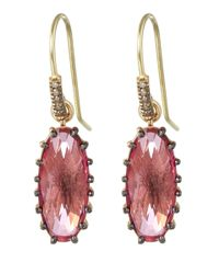 Suzanne Kalan - Gold Pink Topaz And Champagne Diamond Oval Earrings - Lyst