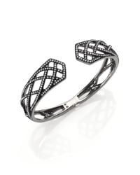 Adriana Orsini | Metallic Elevate Pavé Crystal Bangle Bracelet/gunmetal-tone | Lyst