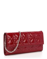 Dior | Dark Red Cannage Patent Leather 'Lady Dior' Convertible Clutch | Lyst