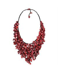Aeravida | Handmade Red Coral V-shape Chandelier Necklace | Lyst