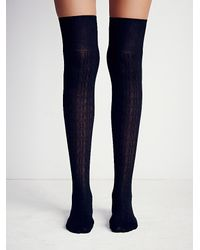 Free People | Black Shine Womens Centennial Over The Knee Sock | Lyst