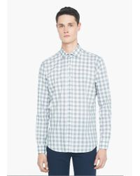 Mango | Gray Slim-fit Gingham Check Shirt for Men | Lyst