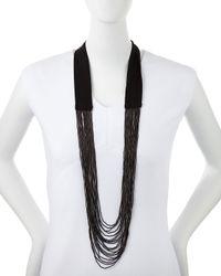 Stella McCartney | Black Multi-Strand Beaded Tie Necklace | Lyst