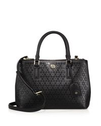 Tory Burch | Black Robinson Laser-cut Saffiano Leather Double-zip Satchel | Lyst
