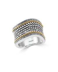 Effy | Metallic 14k Yellow Gold, 925 Sterling Silver And Diamond Ring | Lyst