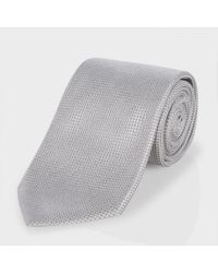 Paul Smith | Gray Light Grey Micro Check Classic Silk Tie for Men | Lyst