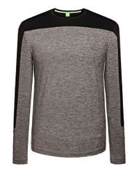 BOSS Green | Gray 'togntech' | Tech Jersey Long Sleeve T-shirt for Men | Lyst