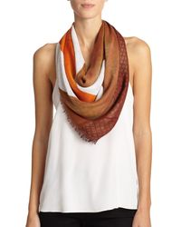 Gucci - Orange Brushstroke Cotton & Silk Shawl - Lyst