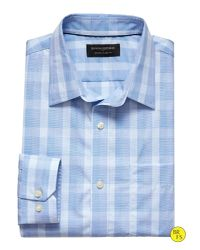 Banana Republic | Blue Factory Classic-fit Non-iron Plaid Shirt for Men | Lyst