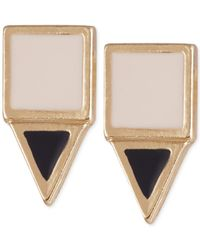 French Connection | Metallic Gold-tone Square And Triangle Stud Earrings | Lyst