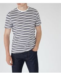 Reiss - White Snoop Stripe Crew-neck T-shirt for Men - Lyst