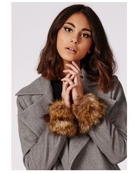 Missguided | Faux Fur Cuffs Brown | Lyst