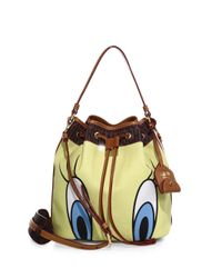 Moschino - Multicolor Looney Tunes Textured Faux Leather Bucket Bag - Lyst