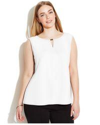 Calvin Klein - White Plus Size Sleeveless Textured Keyhole Top - Lyst
