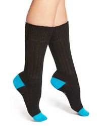 Kensie - Black Colorblock Crew Socks - Lyst