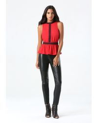 Bebe | Red Lace Trim Peplum Top | Lyst