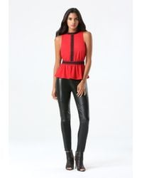 Bebe - Red Lace Trim Peplum Top - Lyst