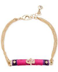 RACHEL Rachel Roy | Pink Gold-Tone Thread-Wrapped Crystal Hamsa Chain Bracelet | Lyst
