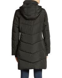 Calvin Klein | Black Colorblock Puffer Coat | Lyst