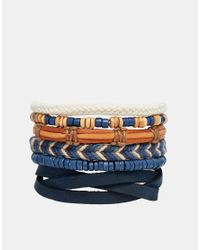 ASOS | Brown Leather Bracelet Pack In Blue for Men | Lyst