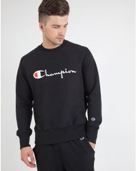 Champion - Black Reverse-Weave Cotton-Blend Sweatshirt for Men - Lyst