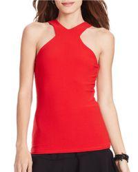 Lauren by Ralph Lauren | Red Jersey V-neck Tank | Lyst