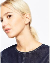 ASOS - Metallic Gold Plated Sterling Silver Spike Star And Chain Mixed Earring Pack - Lyst