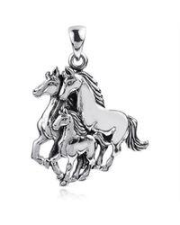Aeravida | Metallic Equestrian Family Sterling Silver Three Horses Pendant | Lyst
