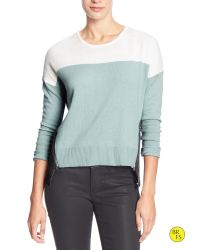 Banana Republic | Gray Factory Colorblock Zipper-seam Sweater | Lyst