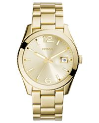 Fossil - Metallic Women's Perfect Boyfriend Gold-tone Stainless Steel Bracelet Watch 39mm Es3586 - Lyst